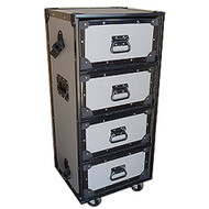 "4 Drawer Work Trunk Small by TuffBox Drawers Slide on 3/8"" Shelves Outside Dimensions 18"" x 16"" x 40"" (with wheels) Drawer Dimensions 15"" x 13"" x 7-1/2"""