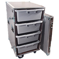 "4 Large Tub - Drawer 3/8"" Ply Heavy Duty ATA Case w/Wheels"