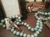 Old World Rosary-Decorative Wood with Pewter Cross