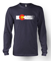 Colorado Flag Long Sleeve T-Shirt in Navy Blue