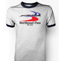 Berthoud Pass Ski Area Throwback Ringer T-Shirt - Art on Front and Back