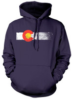 Colorado Flag Navy Blue Pullover Hoodie