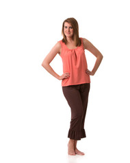 Pleated sleeveless top in coral or eggplant.  Other colors coming soon