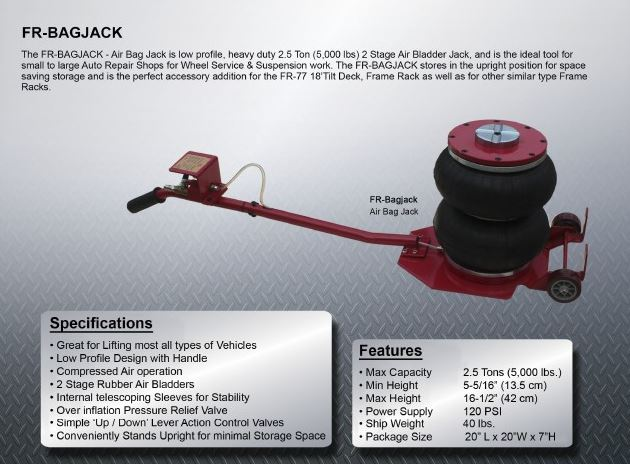 Air Bag Jack >> Ideal Fr Bagjack Air Bag Jack Mytoolequipmentguy Tel 203 813 0414