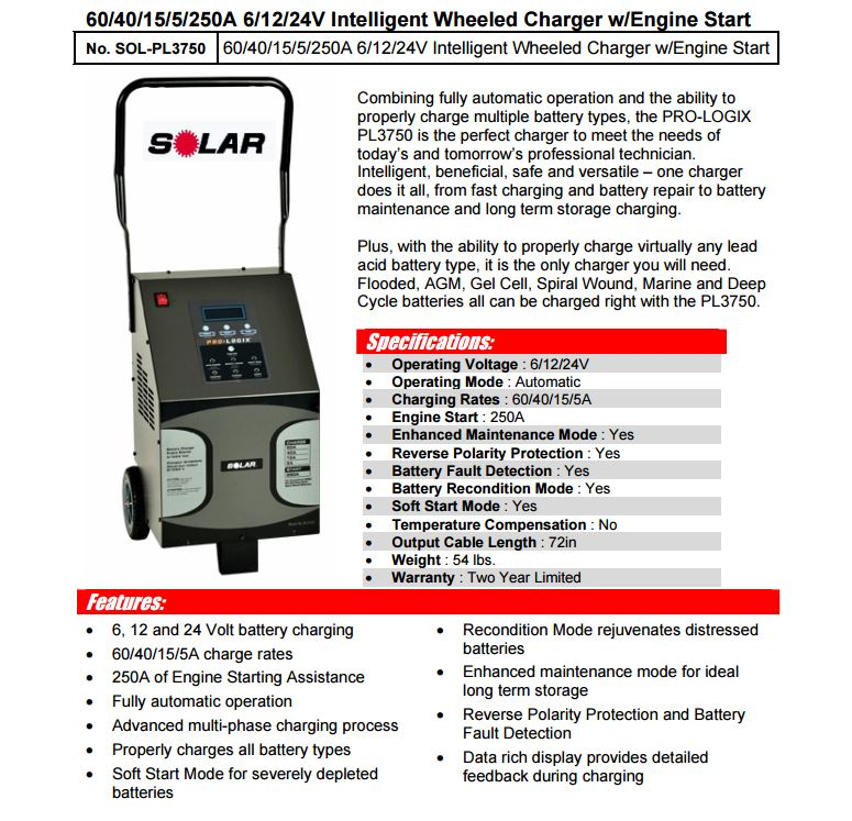 Sol Pl3750 Wheel Type Battery Charger 60 40 Amp 6 12 24