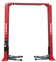 "Launch TLT240SC-R-139 - Red 9,000 Lbs Capacity Clear Floor Asymmetric 2 Post Lift - 139"" Tall"