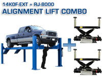 Atlas Combo 14KOF-EXT ( 2 x RJ-8000 Jack included) Garage Pro Open Front Alignment Lift (COMMERCIAL GRADE, EXTRA LONG)