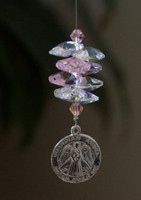 Guardian Angel Crystal Suncatcher - Pink