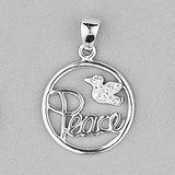 Peace Pendant with cubic zirconia and 45cm curb chain