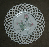 Lattice Milk Glass Plate with Hand Painted Rose Buds