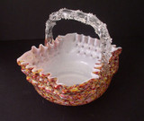 19thC Fabulous Art Glass Basket w. Thorn Handle Spatter Glass