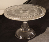 Ball & Swirl Antique Pattern Glass Pedestal Cake Stand EAPG