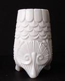 Davidson British Coral & Shell Milk Glass Posy Vase