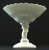 Atlas Pattern Compote Fabulous Figural Milk Glass - Atterbury Glass