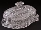 Banner or Three Shields Pattern Glass Butter Dish