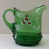 Belladonna Green Glass Creamer Hand Painted Flowers Northwood Glass
