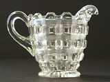 Berlin or Reeded Waffle Pattern Glass Creamer EAPG