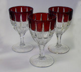 Verona Ruby Stained Glass Goblets - Set of 3 EAPG