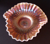 Caroline Pattern Peach Opalescent Carnival Glass Bowl