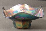 Holly Pattern Blue Carnival Glass Hat Shape