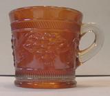 Vintage Banded Pattern Marigold Carnival Glass Mug