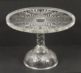 Fan and Diamond Pattern Glass Pedestal Cake Stand
