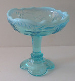 Intaglio Blue Opalescent Glass Jelly Compote