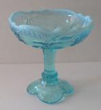 Intaglio Blue Opalescent Glass Jelly Compote