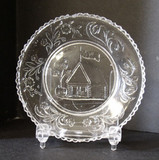 Log Cabin Flint Glass Cup Plate