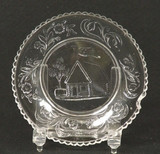 Log Cabin Flint Glass Cup Plate Lee #594