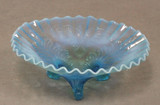 Palm and Scroll Blue Opalescent Glass Bowl