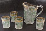 Daisy and Scroll Pitcher & 4 Tumblers Green Stain