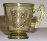 Diamond with Circle Apple Green Glass Mug