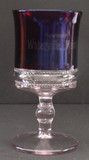 Double Beaded Band Ruby Stained Glass Goblet