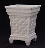 Roman Cross Milk Glass Spooner