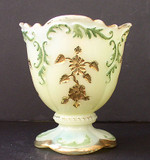 Northwood Custard Glass Intaglio Decorated Spooner