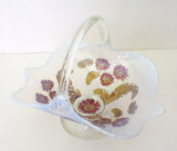 Dugan Daisy Intaglio Opalescent Goofus Glass Basket