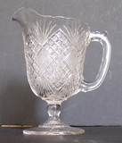 Flattened Diamond and Sunburst Pattern Glass Creamer EAPG