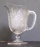Flattened Diamond and Sunburst Pattern Glass Creamer EAPG