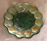 Heavy Grape Green Carnival Glass Plate - Imperial