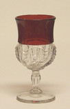 Scalloped Swirl / York Herringbone Ruby Stained Wine Glass EAPG