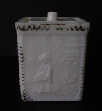 Oriental Girl Milk Glass Mustard Jar Westmoreland