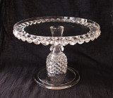 Pavonia Pineapple Stem Antique Glass Pedestal Cake Stand