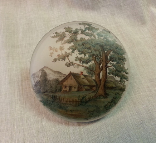 Czech Glass Powder Jar Woodland Scene