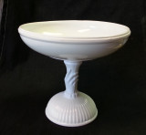 Atterbury Glass Milk Glass Hand Stem Compote