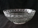 Bird & Strawberry pressed glass bowl