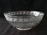 Bird & Strawberry pressed glass bowl
