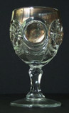 Knobby Bulls Eye Goblet with Gold Trim EAPG