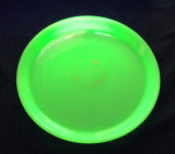 "Green Opaline Vaseline Glass 12"" Tray"