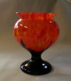 Ruckl Czechoslovakia Orange Black Spatter Glass Vase